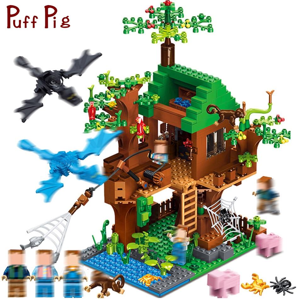Minecrafted классический Tree House мой мир Совместимость с legoingly город цифры строительные Конструкторы кирпичи игрушечные лошадки для детей Рождест...