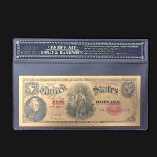 Американские Золотые банкноты Nice 1907, банкноты на 5 долларов в 24-каратном золоте, поддельные бумажные деньги с рамкой COA для коллекции