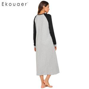 Image 5 - Ekouaer Lange Nacht Kleid Chemise Nachthemd Nachtwäsche Frauen Casual Langarm Patchwork V ausschnitt Sleep Nachtwäsche Plus Größe