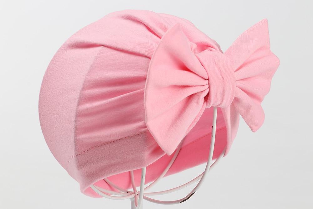 2019 Cotton Newborn Baby Top Knot Beanies Hats Boys Girls Bow Candy Color Baby Turban Cap Warm Ear Skullies Bonnet Hat