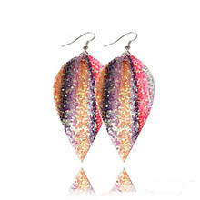 Bohemia Glitter Leather Drop Earrings For Women Sequins Pu Leaf Fashion Statement Jewelry Gifts Wholesale