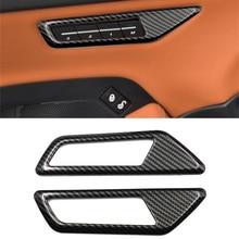 World Datong Interior Car Door memory button cover Carbon fiber texture decoration trim 1pc For Jaguar E-PACE 2018 2019
