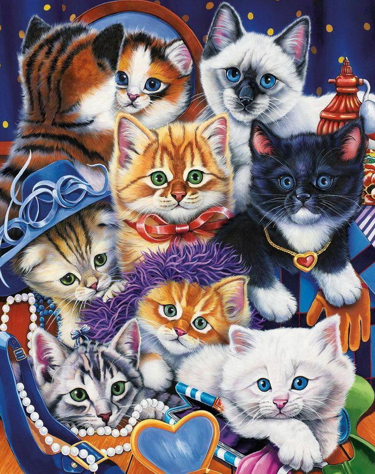 5d diy immagine diamante animale famiglia di gatto ricamo perline diamante modello di cu ...