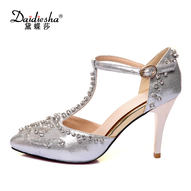 Daidiesha 2018 Fashion Elegant style Ladies high heels Pencil Strap wedding women T-Strap Crystal Female's Zapatos Tacon Sandals 1 design laser cut white elegant pattern west cowboy style vintage wedding invitations card kit blank paper printing invitation