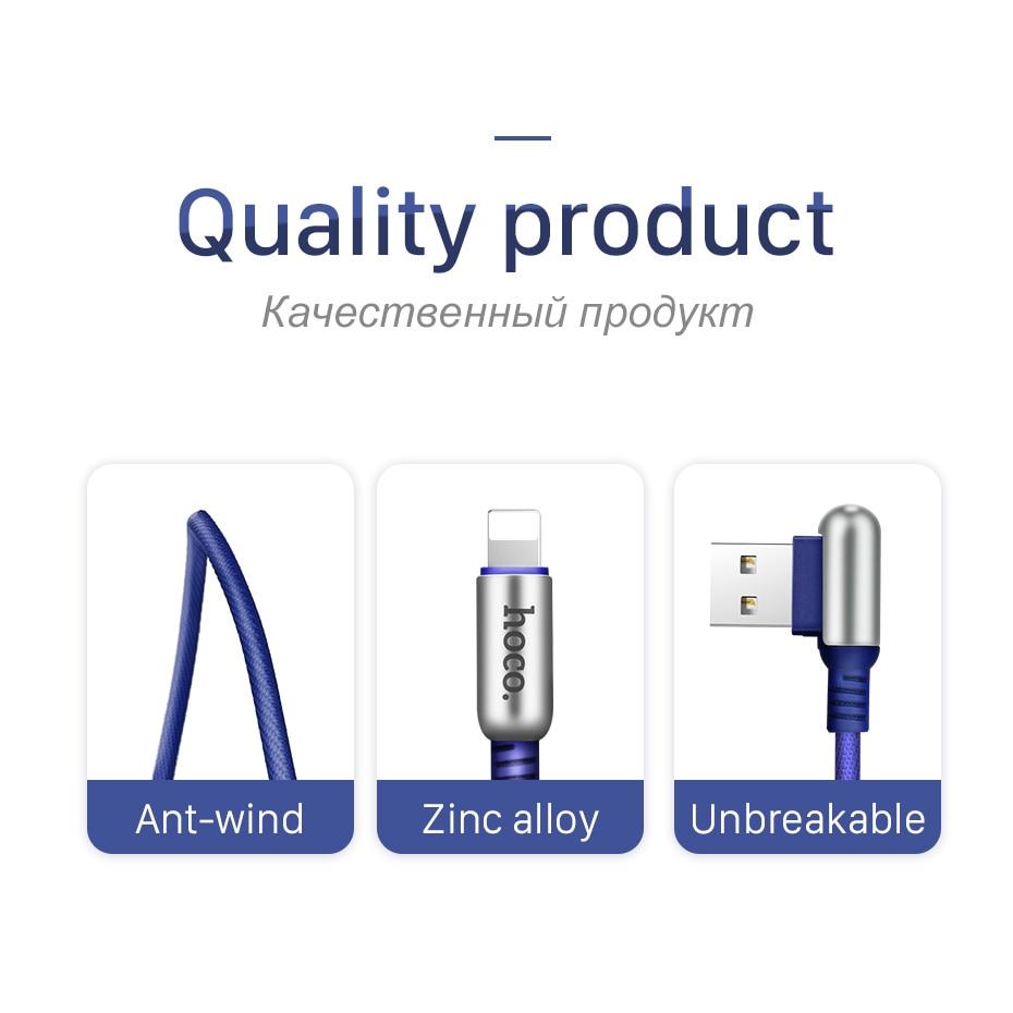 HOCO USB-kabel för Apple 2.4A snabbladdande zinklegering 90 grader - Reservdelar och tillbehör för mobiltelefoner - Foto 5