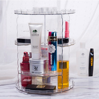 Women Functional Storage Box Transparent Makeup Organizer Eco Friendly Acrylic Storage Box Cosmetics 360 Degree Rotate
