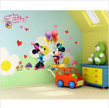 Free shipping Hot sale cartoon 3D kids Minnie&mickey mouse home decor wall stickers for kids room decoration