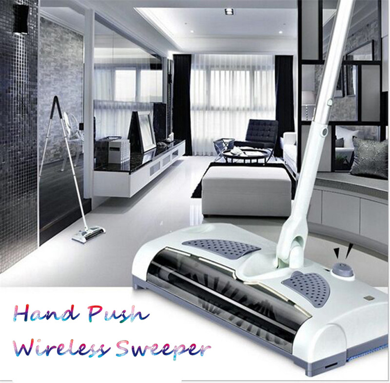 Hot Sale Ultra Quiet Mini Home Wireless Electric Hand Push Sweeper Spinning Broom Mop Drag Household Cleaning US/EU Plug(China)