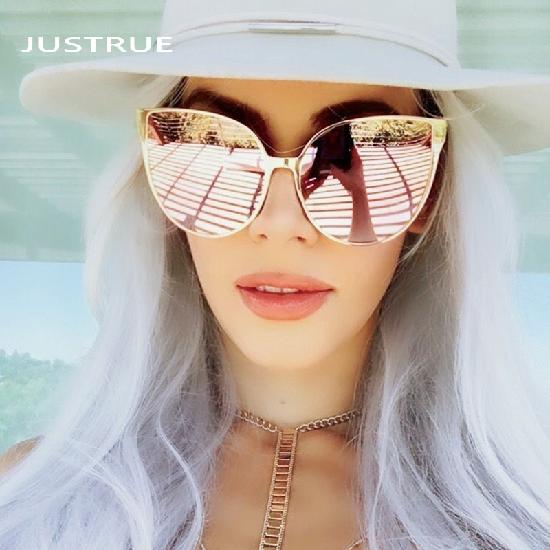 Justrue Fashion Women Oversized Cat Eye Sunglasses