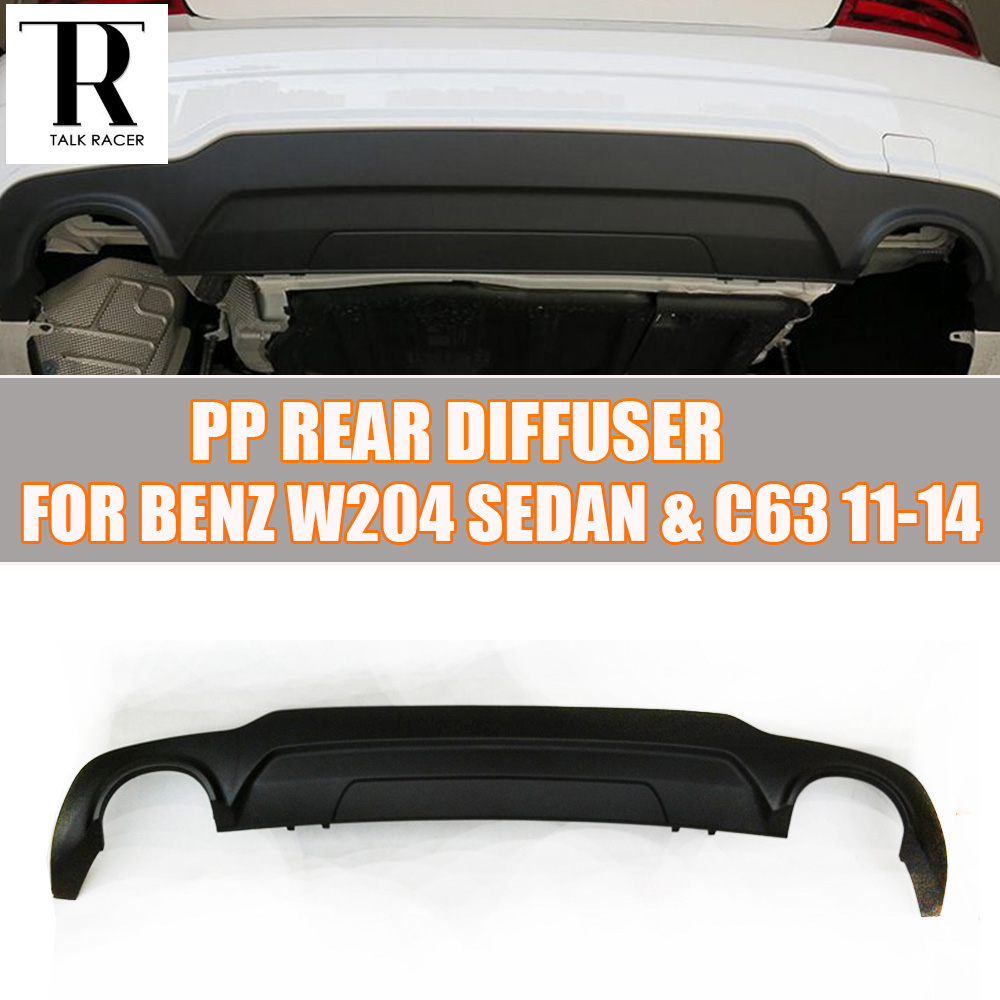 W204 PP Rear Bumper Lip Diffuser Spoiler for Benz W204 C180 C200 C260 C300 Sport Bumper 2012 2013 2014 w204 c180 c200 c260 c300 carbon fiber car rear trunk lip spoiler wing for mercedes benz w204 c63 4 door 2008 2013 amg style