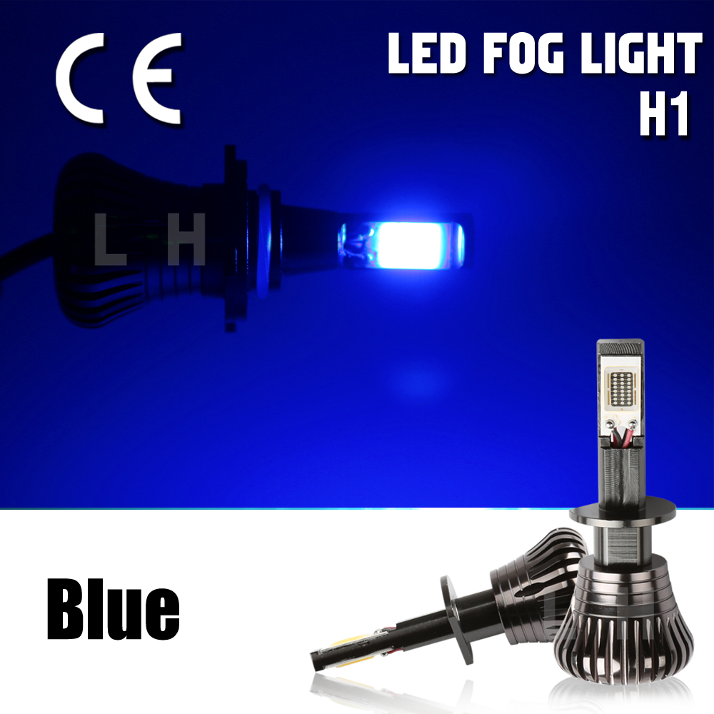 New Pair Driving DRL Light Bulbs H1 Fog Canbus Error Free Strobe Flash Light 80W 2 models Small Size Blue LED Projector