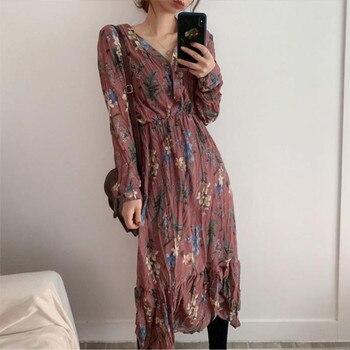 BGTEEVER Elegant V-neck Floral Printed Women Dress Flare Sleeve A-line Female Chiffon Dress 2019 Vintage Women Midi Vestidos 6