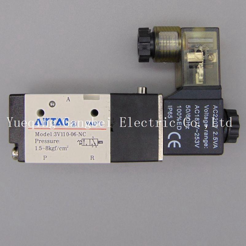 3V110-06 G1/8  3Port 2Position Pneumatic Solenoid Valve Aluminum Alloy  AC110V AC220V AC380V AC24V 24V DC 12V DC