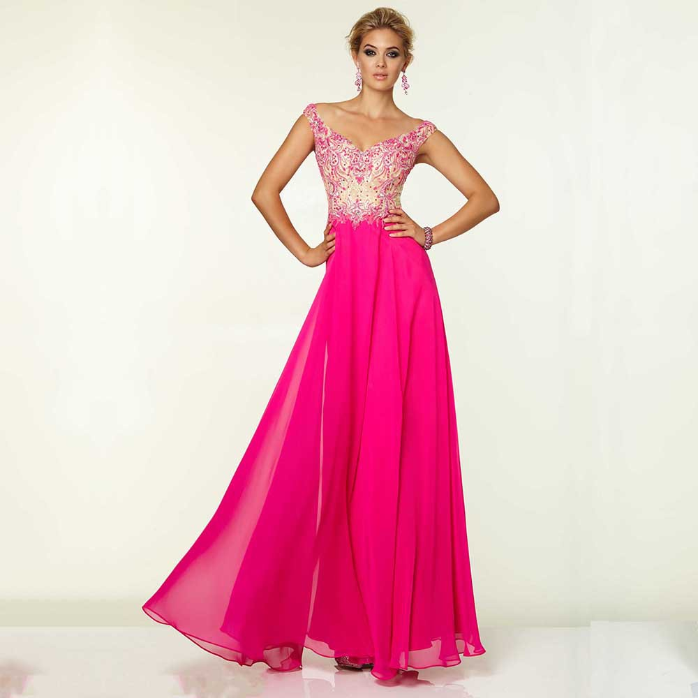 Elegant Fashion Sleeveless Beaded Lace Chiffon A-Line robe de soiree Prom gown 2018 Vestido De noiva Baile   bridesmaid     dresses