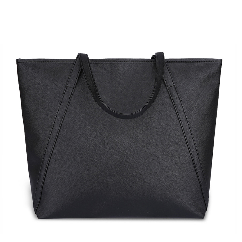 Black Casual Women Shoulder Bags PU Leather Female Big Tote Bags for ... dc08af137c108