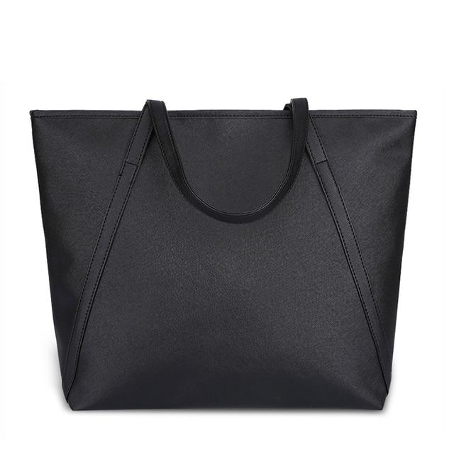 Black Casual Women Shoulder Bags PU Leather Female Big Tote Bags for Ladies  Handbag Large Capacity b2ff23bf949a0