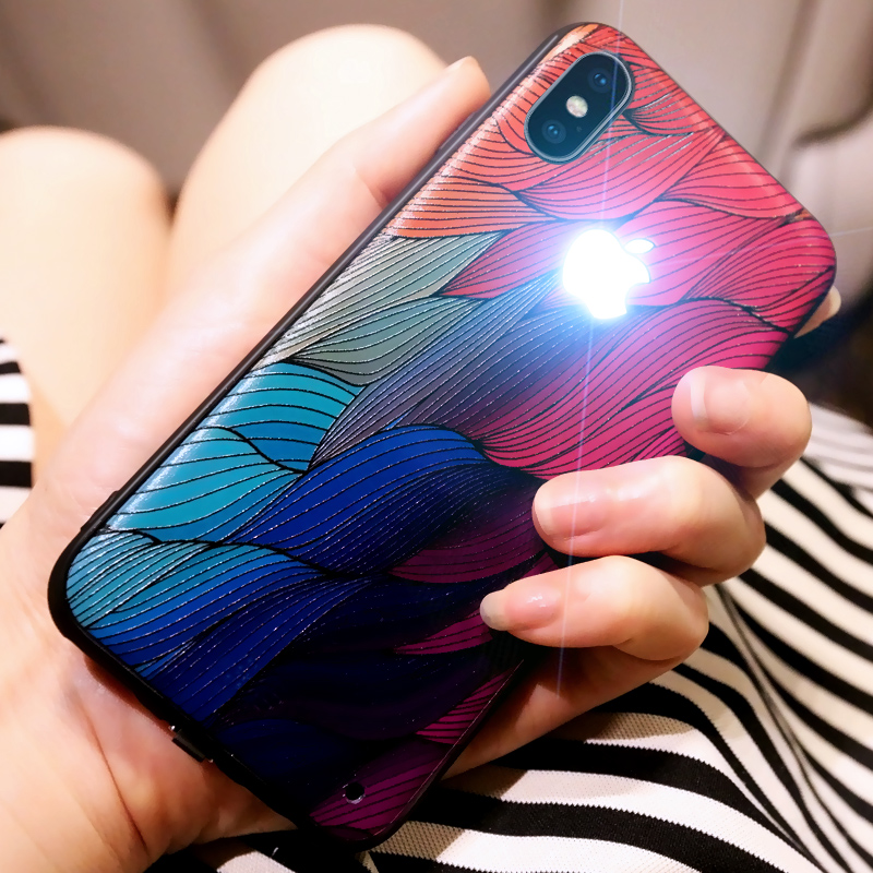 Original Yagoo have Led LOGO phone case for Apple iphone 6 6s 7 8 plus silicone cases for iPhone x back cover luxury capa funda