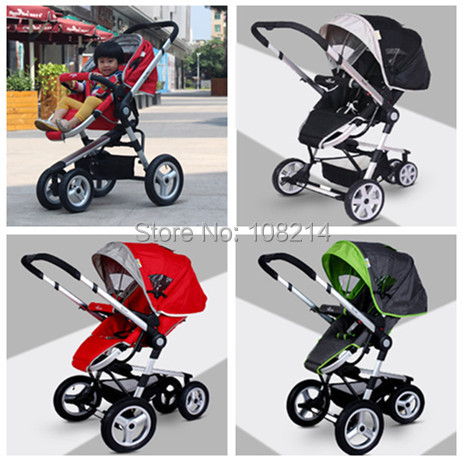 Fast Delivery Baby Strollers 3 In 1 3 Wheels Aluminum Alloy Light Convenient Folding Sleeping Basket Two-ways Baby Car