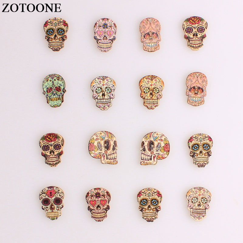 ZOTOONE Fashion Skull Buttons Wood Sewing Scrapbooking Random Color Two Holes Needlework Sewing Buttons DIY Clothing Accessories in Buttons from Home Garden