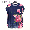 BFDADI Casual Summer T-Shirt 2017 Hot Sale Flowers Women  O-neck Bats Short Sleeve Women Clothing T Shirt Plus Size Tops 1658