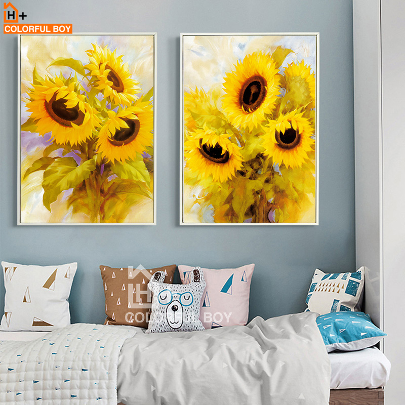 colorfulboy nordic print poster blooming sunflower wall art canvas painting living room study. Black Bedroom Furniture Sets. Home Design Ideas