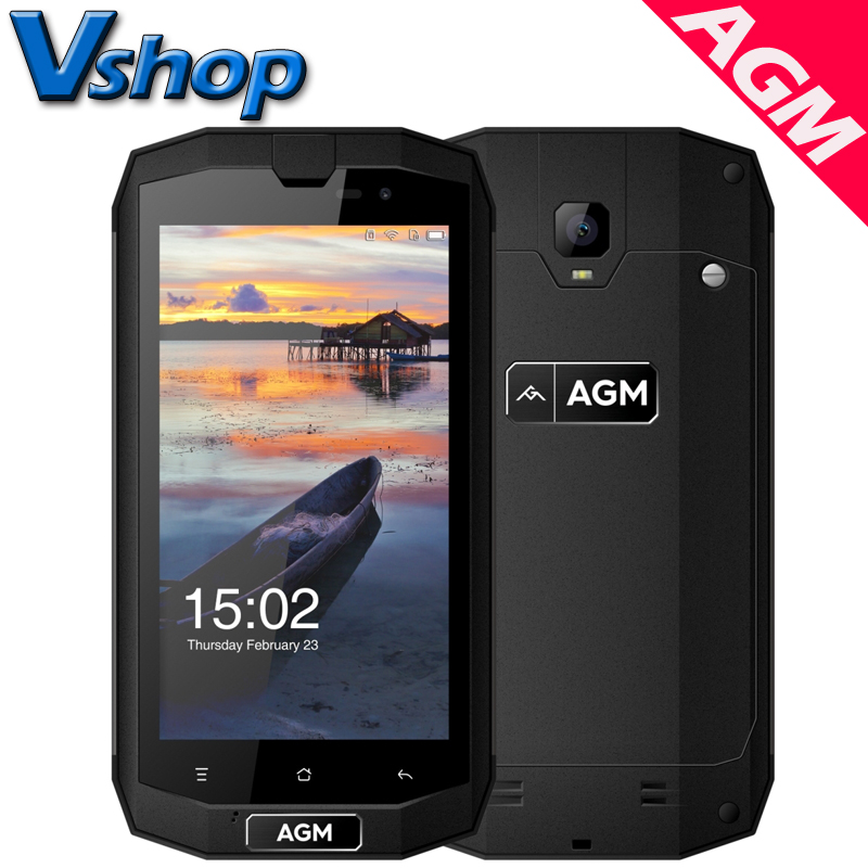 """Original AGM A1Q 4G Mobile Phones Android 7.0 4GB+64GB Android 7.0 Quad Core Smartphone IP68 Waterproof Dual SIM 5.0"""" Cell Phone"""