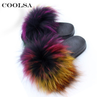Children's Slippers Kids Fox Fur Slippers Real Fur Slides Fluffy Fox Hair Sandals PU Flat Fuzzy Kids Home Flip Flop Beach Shoes