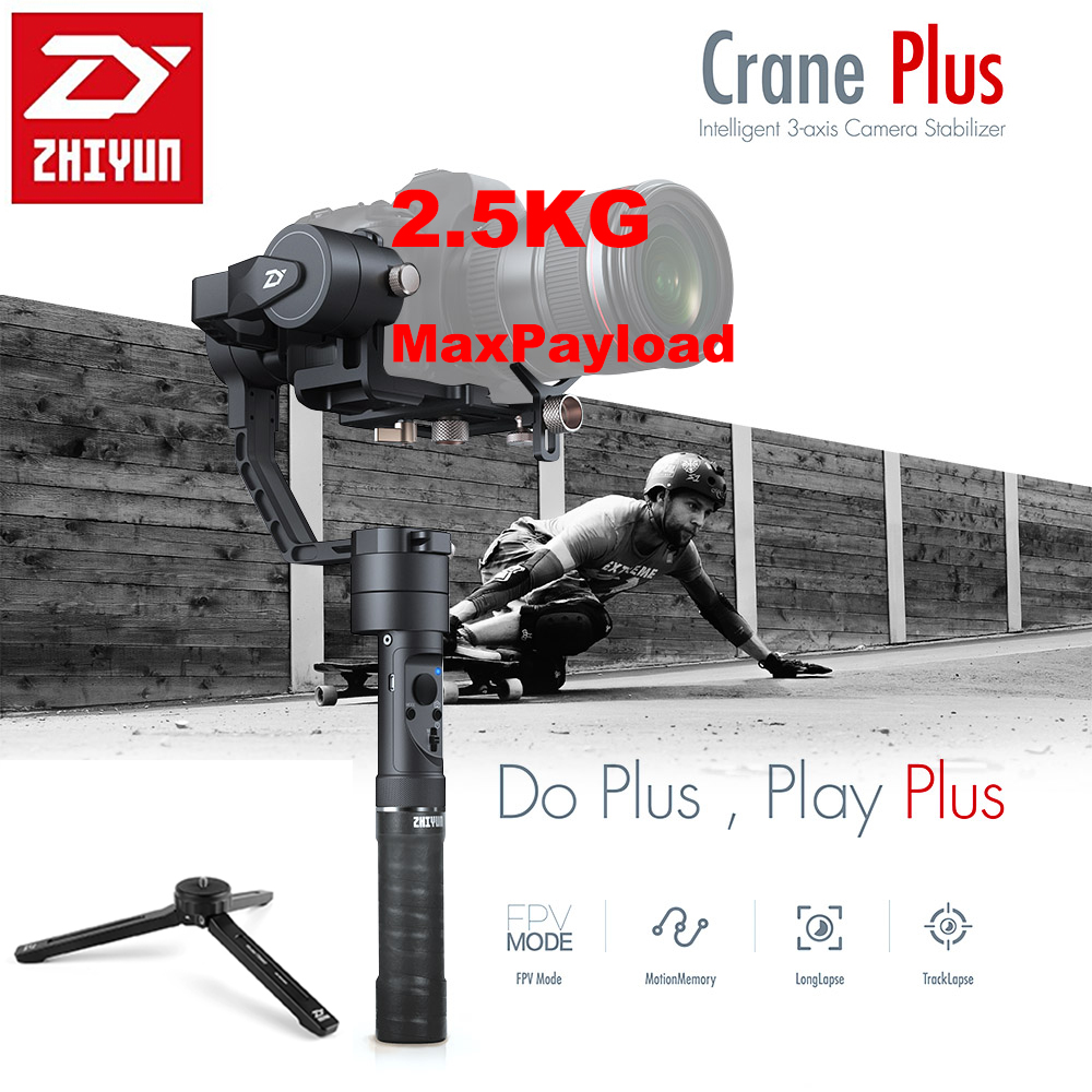 Zhiyun Crane Plus 3 Axis Handheld Gimbal Stabilizer 2500g Payload Long Exposure Time Lapse Motion Memory for Canon Nikon Sony yuneec q500 typhoon quadcopter handheld cgo steadygrip gimbal black