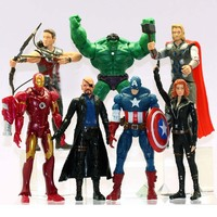 7Pcs Set The Avengers Batman Black Widow Hulk Iron Man Captain America Thor Spiderman PVC Figure