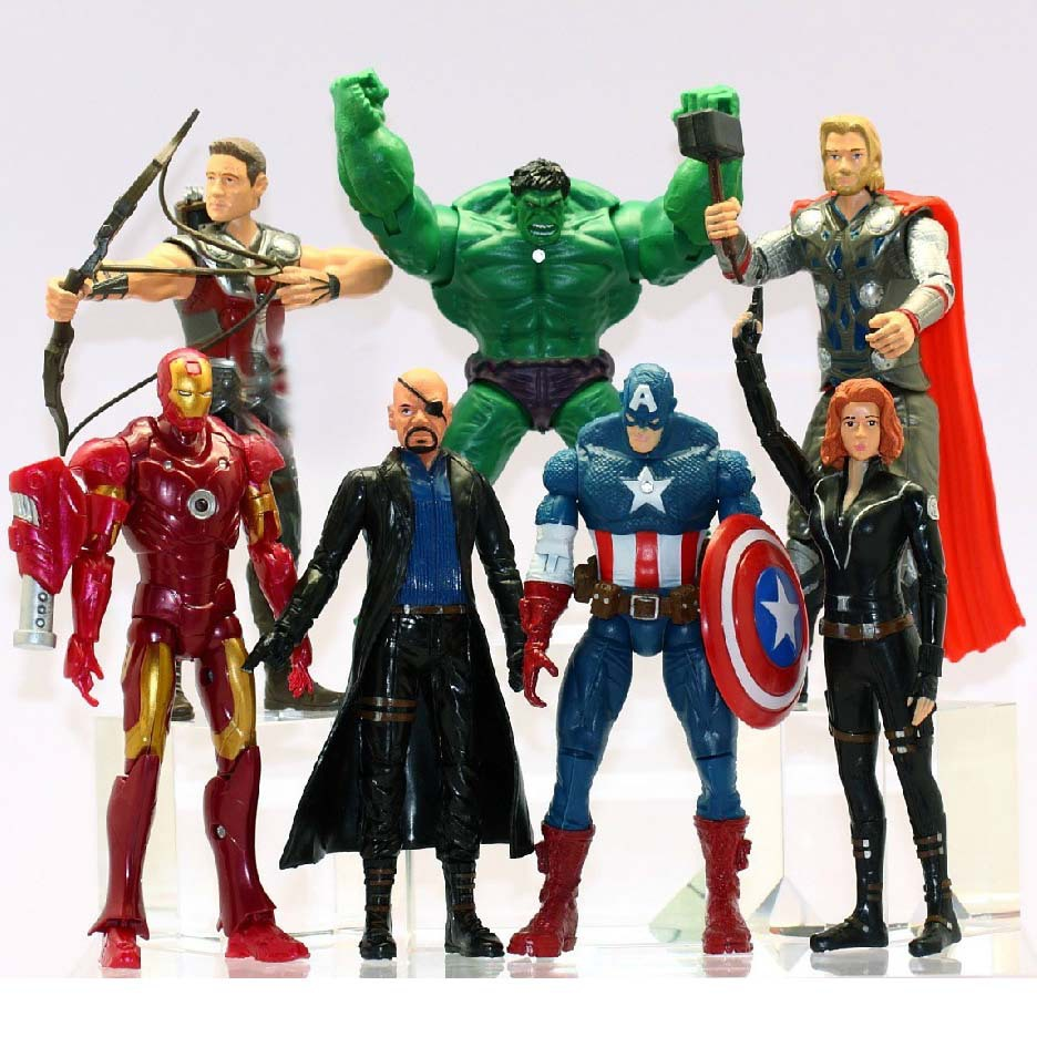 7Pcs/Set The Avengers Batman Black Widow Hulk Iron Man Captain America Thor Spiderman PVC Figure Toy Doll 15cm WJ429 arya arya рулонные шторы lizbon цвет белый 160х200