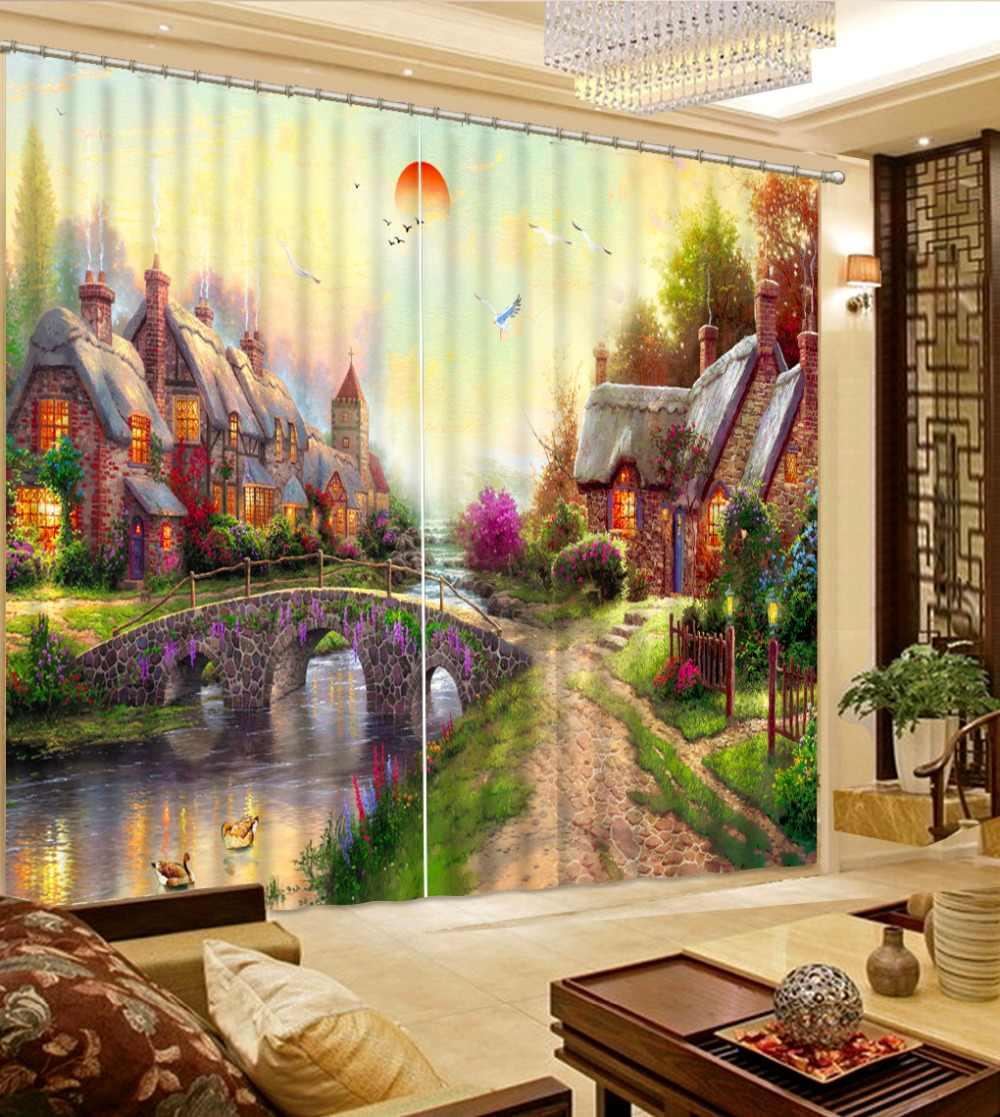 النفط اللوحة المشهد ثلاثية الأبعاد الستار لغرفة المعيشة غرفة نوم الستائر البوليستر الستار الستائر