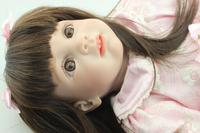 24 ''дюймовый 60 см Лидер продаж Bebe Reborn Одежда для малышей для девочек куклы с длинными волосами и юбка силиконовая конечностей и ткань для тел
