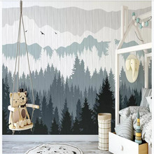 Custom wallpaper hand-painted Nordic abstract pine forest indoor living room bedroom wall decoration waterproof material