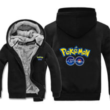 Pokemon Gehen Sweatshirts Winter Fleece Fahion Pikachu Hoodies Warme Fleecefutter Pokemon Sweatshirt Pika Jacke Mantel Freeshipping(China)