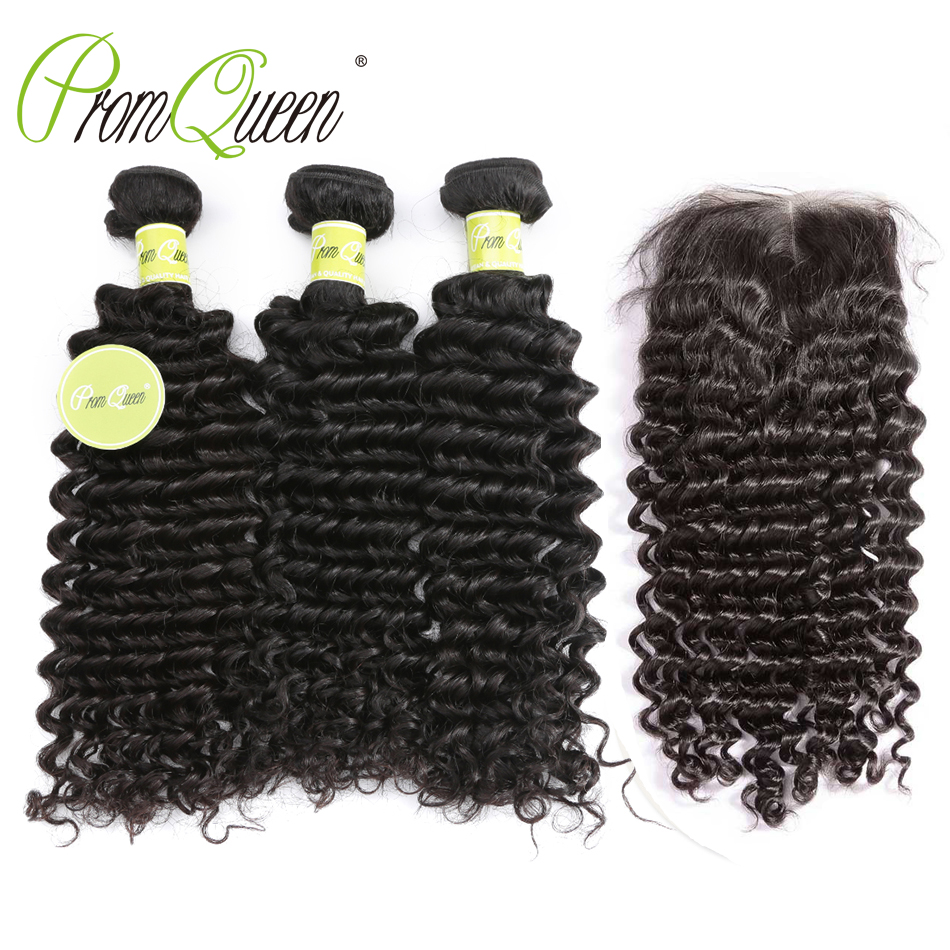 Promqueen Deep Wave Bundles With Closure Peruvian Human Hair 3 Bundles With Lace Closure Free/Middle Part Deep Curly Hair