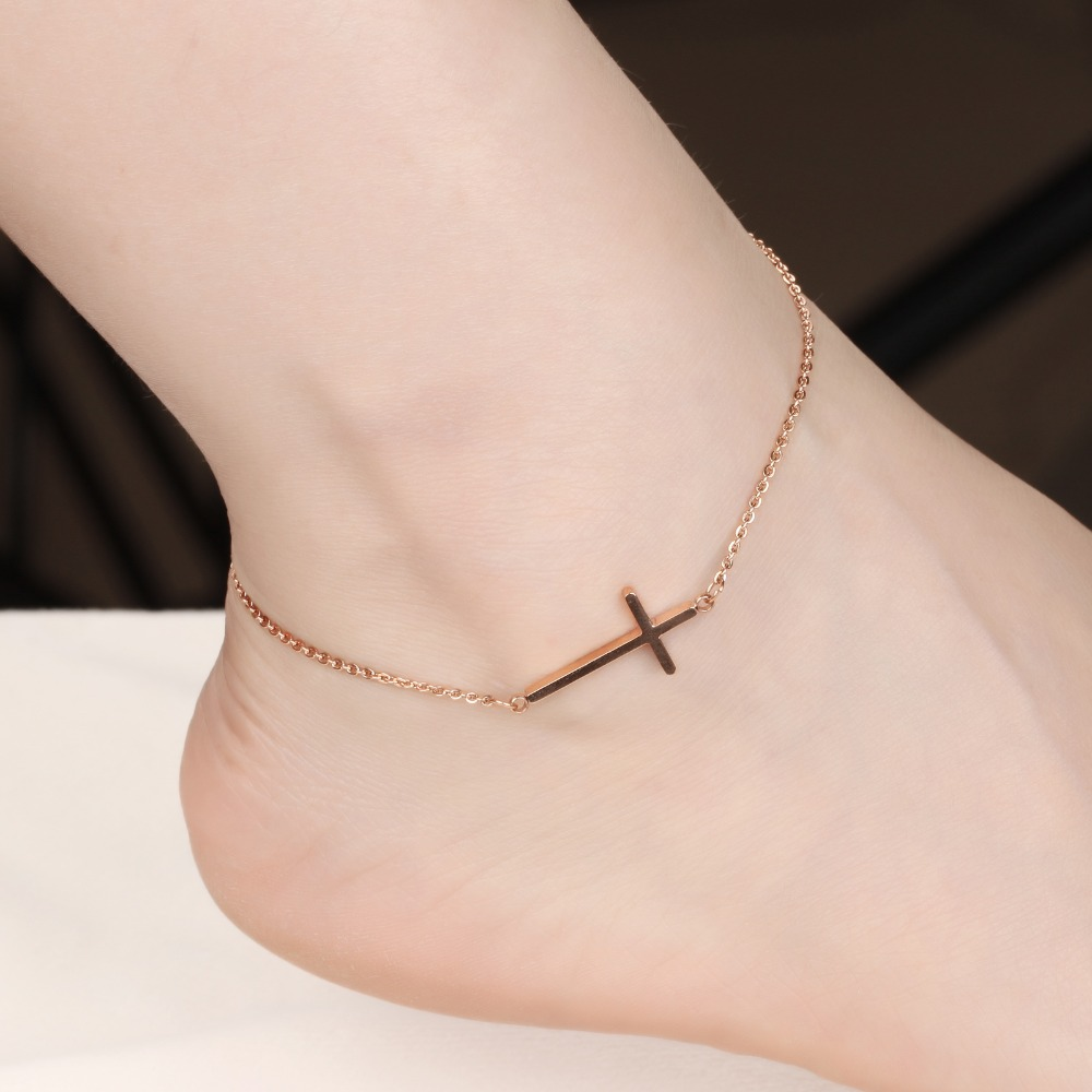 Online Cross Anklet Foot Jewelry Rose Gold Color Bracelet Leg Chain Stainless Steel Anklets For Women Whole Gz010 Aliexpress Mobile