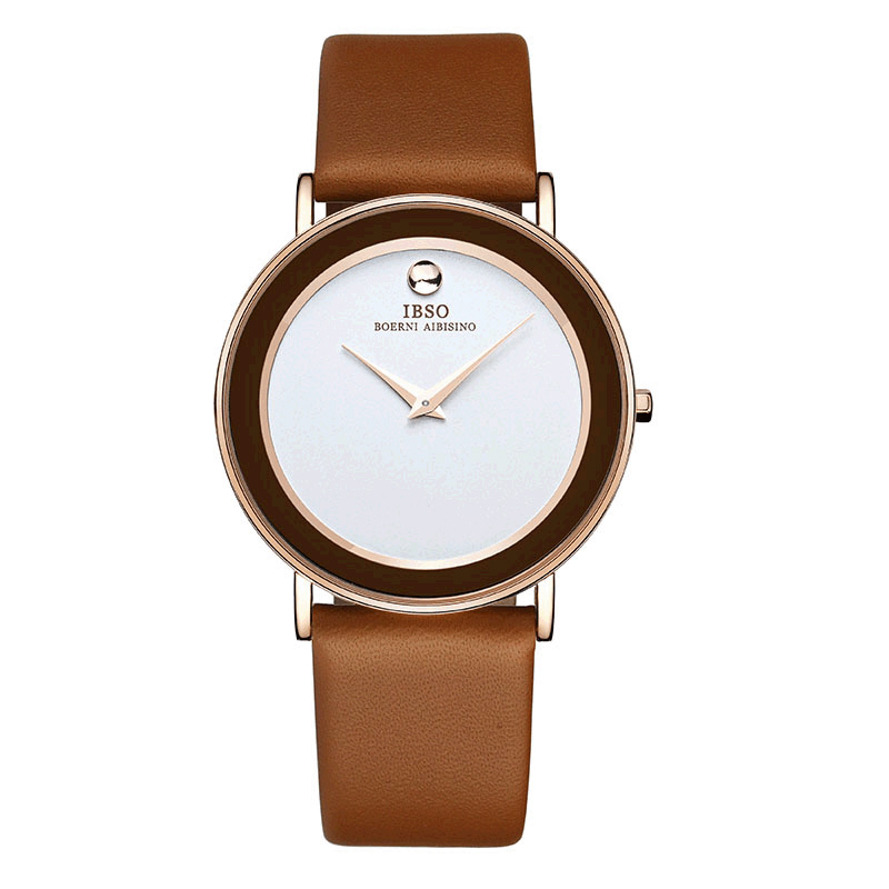 IBSO Fashion Ultra Thin Couple Watches Quartz Waterproof Leather Strap Lover Casual Watches 2216G