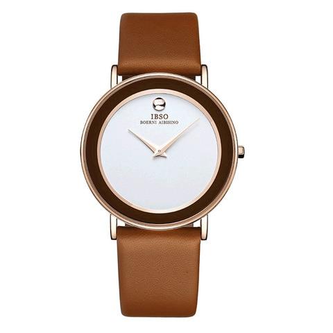 Relógios de Quartzo Pulseira de Couro à Prova Ibso Moda Ultra Fino Casal Dwaterproof Água Amante Relógios Casuais 2216g