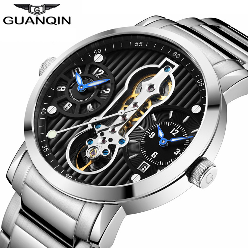 GUANQIN Luxury Brand Men Watch Creative Automatic Skeleton Tourbillon Full Steel Waterproof Men's Business Mechanical Watches цена 2017