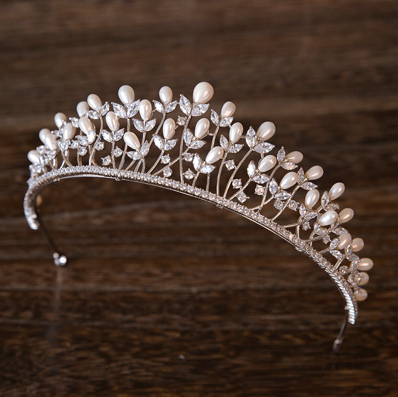 Full Zircon Shell Pearl Tiara Headband Crown Jewelry Bride Headpiece Wedding Hair Accessories Headbands Bijoux Cheveux WIGO1027