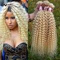 Cabelo humano peruano do weave Platinum Blonde peruano Virgin cabelo encaracolado 3 pcs 613 kinky curly loira extensões do cabelo encaracolado apertado