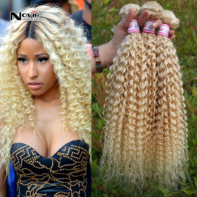 Peruvian Human Hair Weave Platinum Blonde Peruvian Virgin Curly Hair