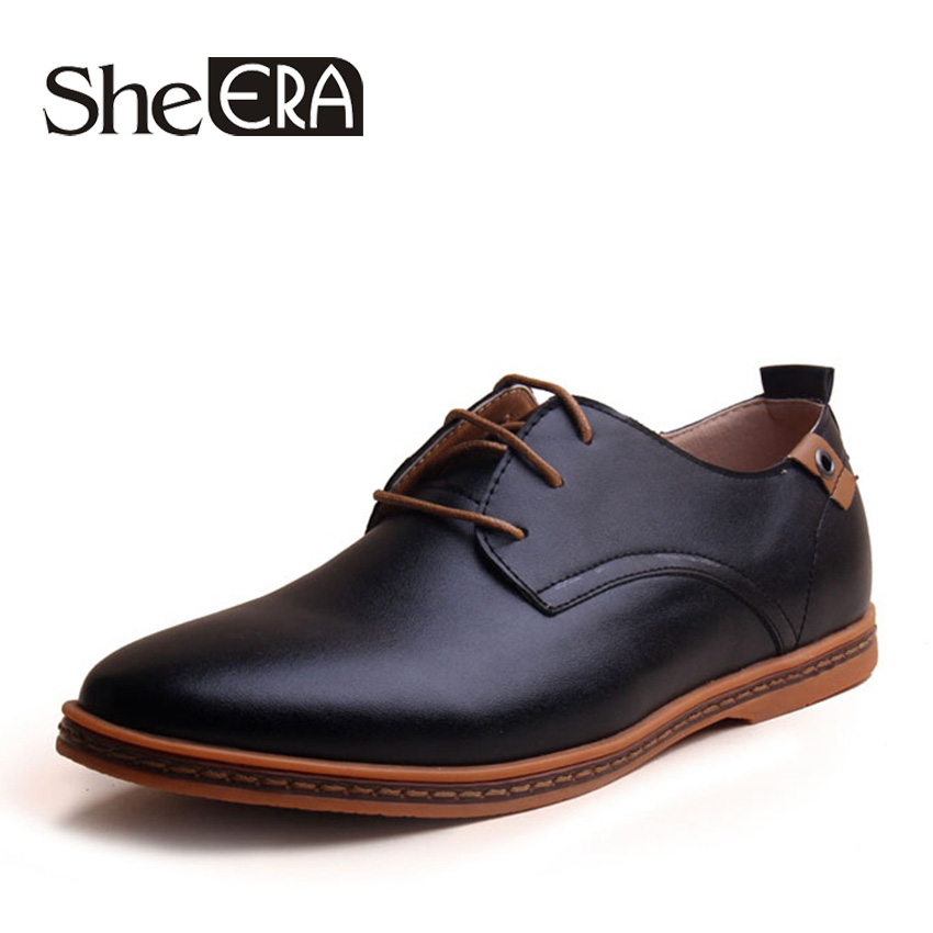 SheEra New Fashion Autum/Winter Men Shoes Casual Lace-Up Patent Leather Oxford Shoes for Men Sapato Zapatos Hombre Free Shipping free shipping 2017 new black brown autumn and winter full grain leather casual shoes men s fashion flats lace up shoes for men