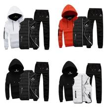 Men Sport Suit Set Cotton Brand Vest 3 Winter Warm Hoodie Sportswear Sweatshirt Clothes Male Coat Jogging Running Tracksuit Hood