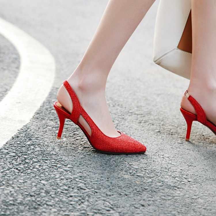 Büyük Boyutu 11 12 13 14 yüksek topuklu sandalet kadın ayakkabı kadın yaz bayanlar Inci Fishskin Geri Gezisi Sandalet