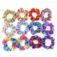 6 Pcs/pack New Hot Stamping Rainbow Bowel Headband Fashion Women Hair Ring Two-color Stretch Headwear Can Stick Head Flower Girl