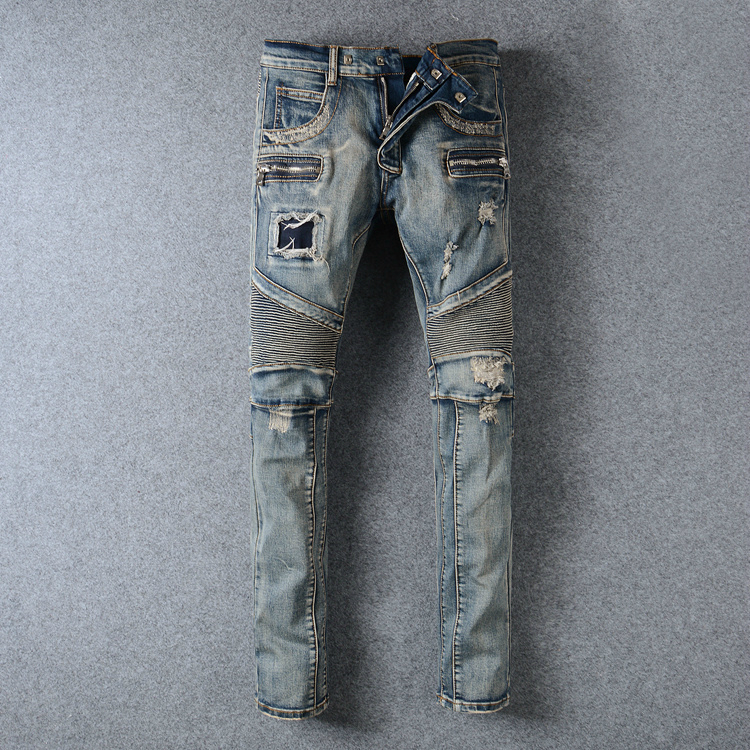 ФОТО High Quality Design New Fashion Men Jeans Slim Elastic Zipper Biker Jeans Skinny Ripped Jeans Men Straight Pencil Denim Pants