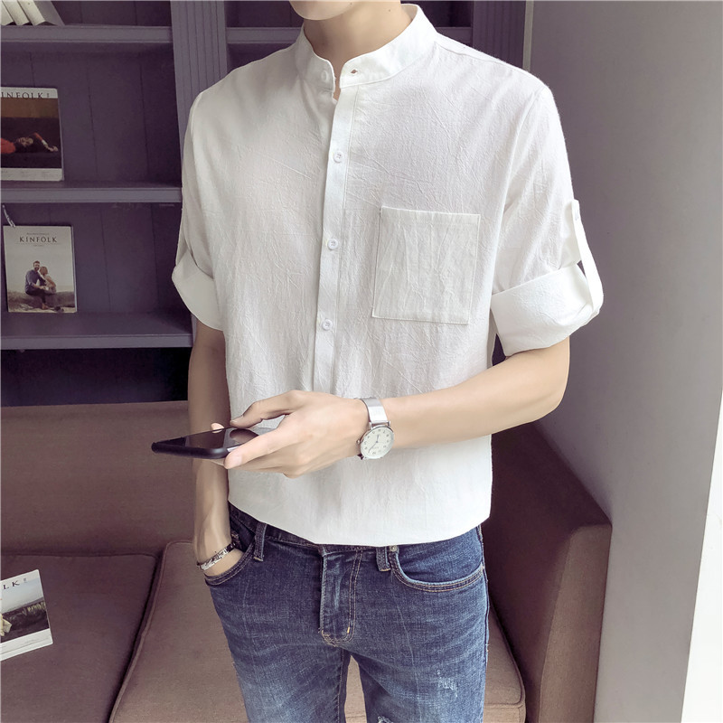 2018 Summer New Pattern Fashion Tide Male Seven Part Sleeve Shirt White letter personality city boy wild casual Free shipping