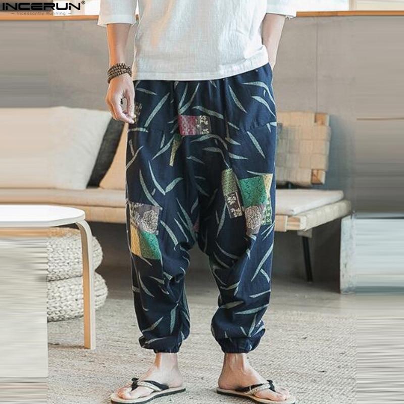 INCERUN Plus Size Cotton Linen Harem Pants Men Joggers Cross-Pants Male Summer Floral Print Hawaii Beach Pants Boggy Trousers