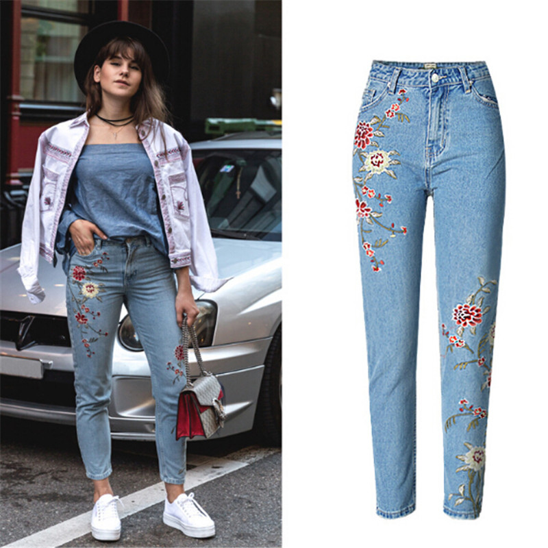 Hodisytian New Fashion Women Jeans Stretch High Waist Denim Pencil Pants Embrodiery Trousers Casual Ankle-length Pantalon Femme rosicil new women jeans low waist stretch ankle length slim pencil pants fashion female jeans plus size jeans femme 2017 tsl049